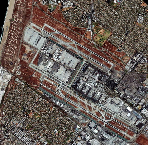 Runway Photograph - Los Angeles International Airport by Geoeye/science Photo Library