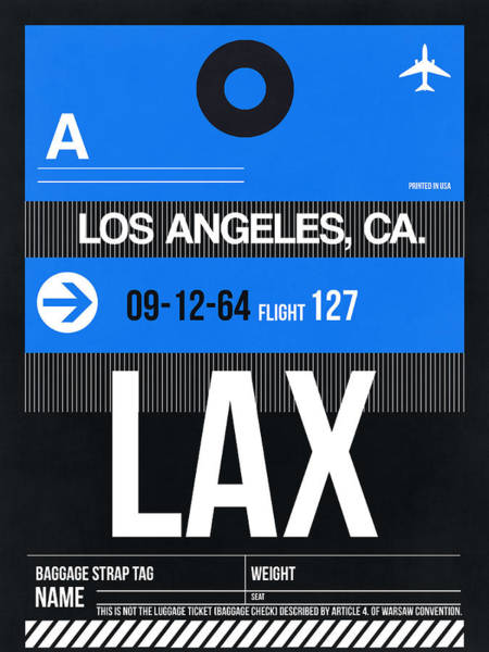 Tourist Wall Art - Digital Art - Los Angeles Luggage Poster 3 by Naxart Studio