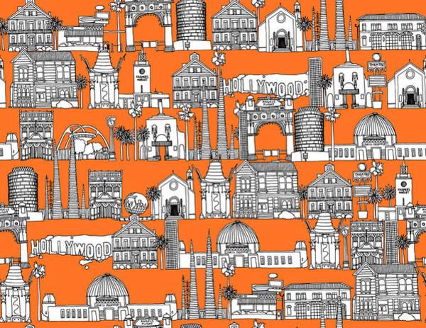 Wall Art - Drawing - Los Angeles Orange by MGL Meiklejohn Graphics Licensing