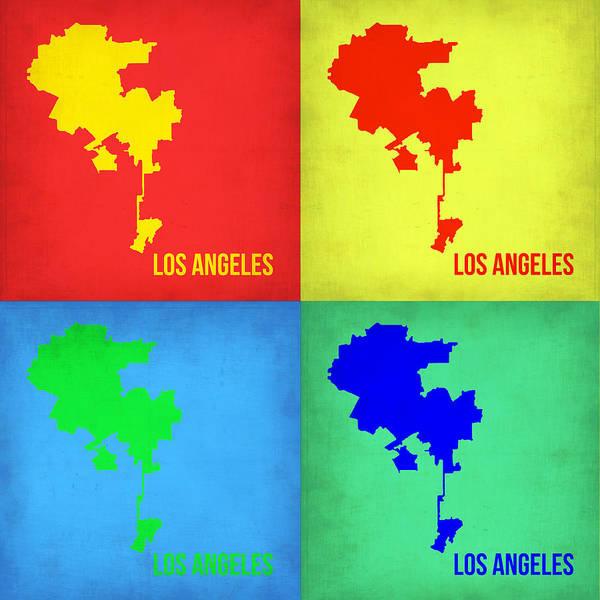 Los Angeles Painting - Los Angeles Pop Art Map 1 by Naxart Studio