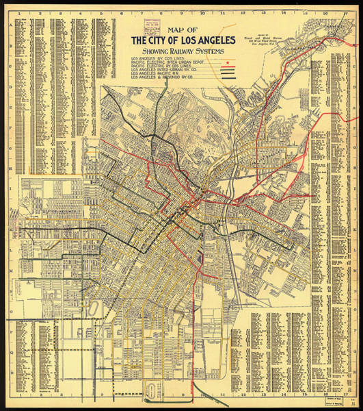 Collectible Art Drawing - Los Angeles Rail System Map 1906 by Mountain Dreams