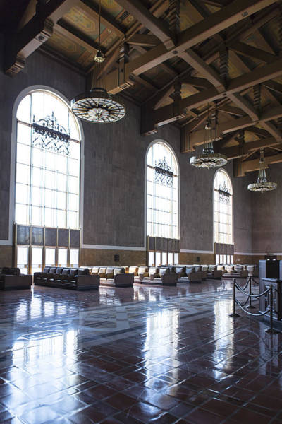 Photograph - Los Angeles Union Station Original Ticket Lobby Vertical by Belinda Greb
