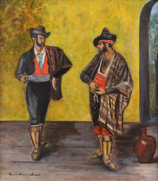 Spanish Wine Painting - Los Bandoleros De Ronda by Aurelia Nieves-Callwood