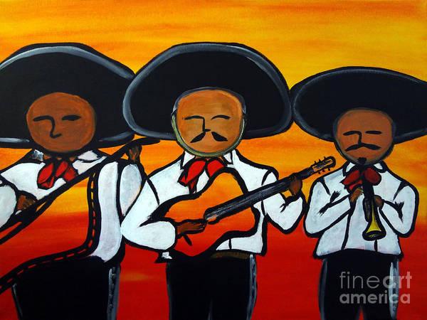 Mariachi Painting - Los Mariachis by Carlos Alvarado