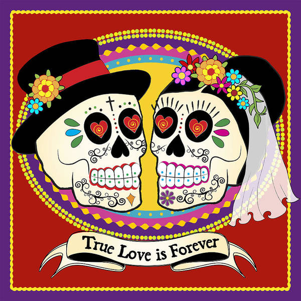 Skulls Wall Art - Digital Art - Los Novios Sugar Skulls by Tammy Wetzel