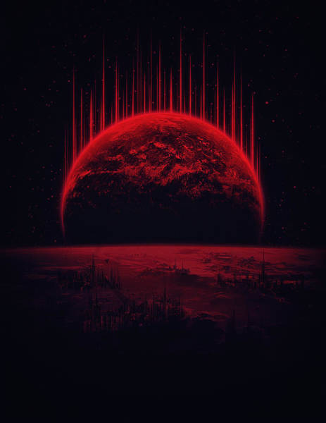 Universe Painting - Lost Home Colosal Future Sci Fi Deep Space Scene In Diabolic Red by Philipp Rietz