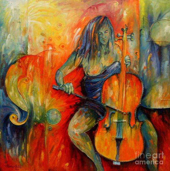 Cellist Painting - Lost In Music by Timothy Orikri