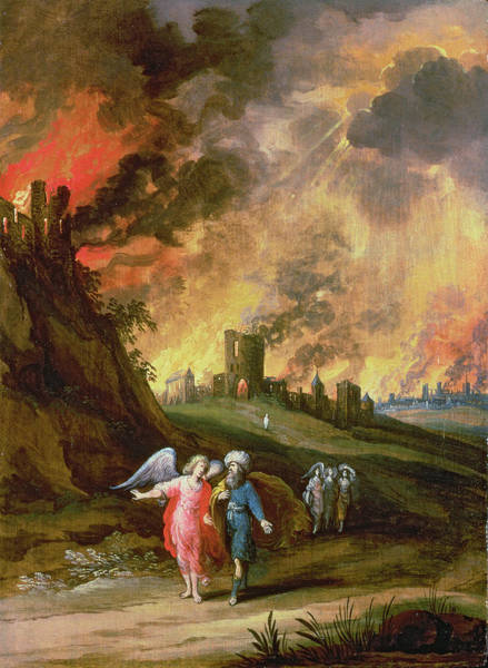 Genesis Photograph - Lot And His Daughters Leaving Sodom by Louis de Caullery