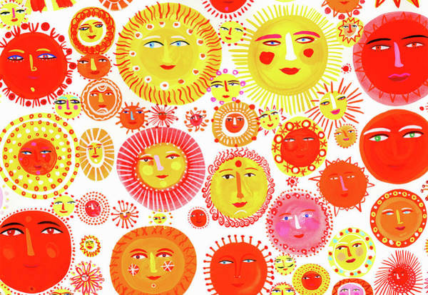Human Face Digital Art - Lots Of Suns With Smiling Faces by Christopher Corr