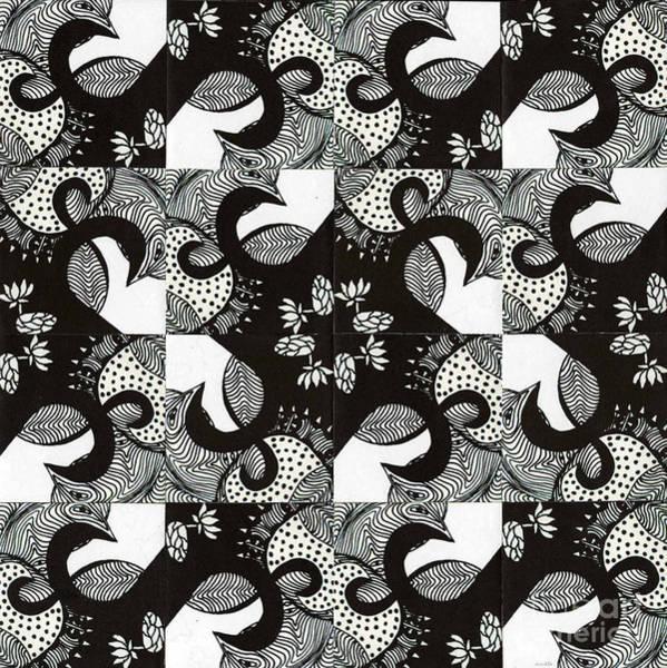 Oahu Drawing - Lotus And Birds by Mukta Gupta