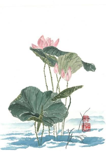 Wall Art - Painting - Lotus Blossoms by Terri Harris