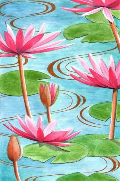Flower Pattern Painting - Lotus Flower by Jenny Barnard