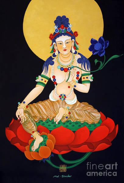 Chinese Buddha Painting - Lotus Guanyan by Mei Drucker