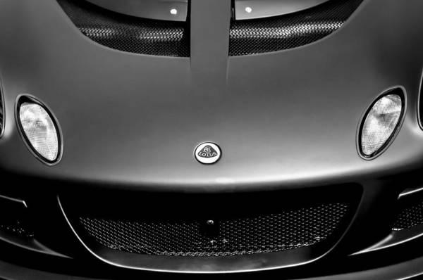 Photograph - Lotus Hood Emblem -0020bw by Jill Reger