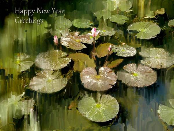 Usha Painting - Lotus Pond Greeting by Usha Shantharam