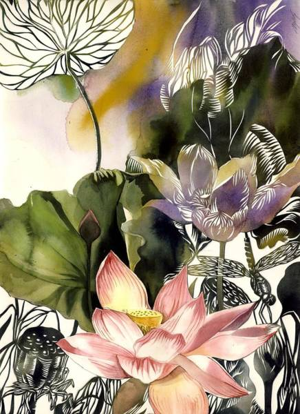 Mixed Media - Lotus With Dragonfly by Alfred Ng