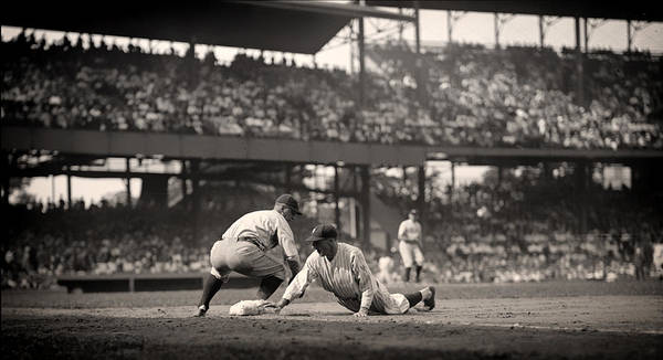 Baseball Hall Of Fame Photograph - Lou Gehrig Playing First Base by Mountain Dreams