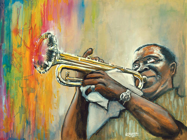 Mardi Gras Wall Art - Painting - Louis Armstrong by Edward Draganski