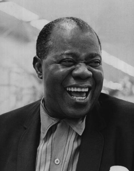 African Daisies Photograph - Louis Armstrong Smiles Broadly by Retro Images Archive