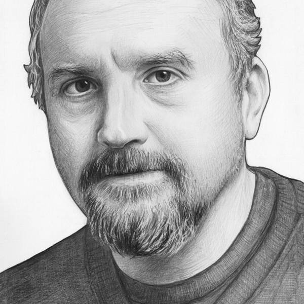 White Drawing - Louis Ck Portrait by Olga Shvartsur