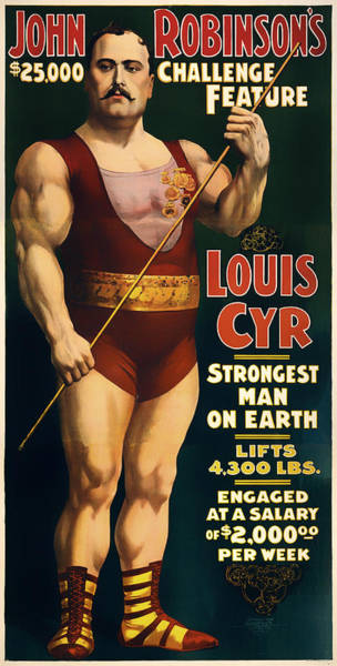 Nostalgia Drawing - Louis Cyr - Strongest Man On Earth by Mountain Dreams