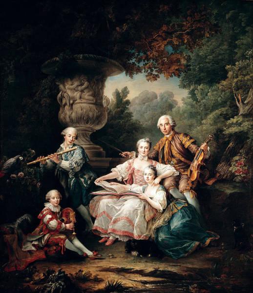 Bagpipes Wall Art - Photograph - Louis Du Bouchet 1645-1716 Marquis De Sourches And His Family, 1750 Oil On Canvas by Francois-Hubert Drouais