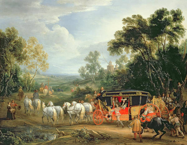 Carriage Painting - Louis Xiv In His State Coach by Adam Frans van der Meulen