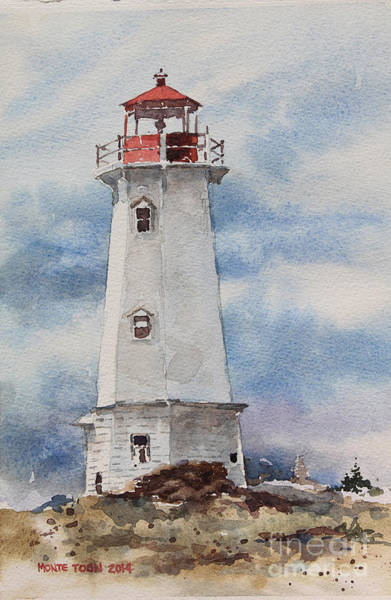 Painting - Louisbourg Lighthouse by Monte Toon