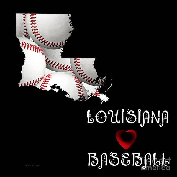 Digital Art - Louisiana Loves Baseball by Andee Design
