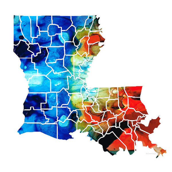 Wall Art - Painting - Louisiana Map - State Maps By Sharon Cummings by Sharon Cummings