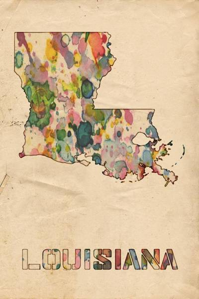 Painting - Louisiana Map Vintage Watercolor by Florian Rodarte