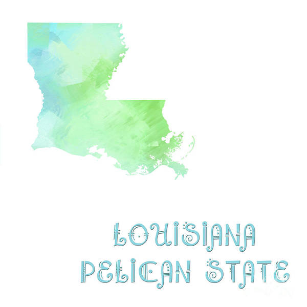 Digital Art - Louisiana - Pelican  State - Map - State Phrase - Geology by Andee Design