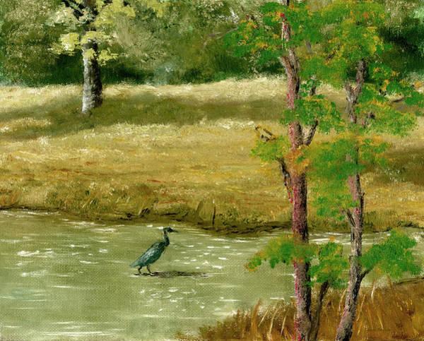 Louisiana Pond With Heron Art Print