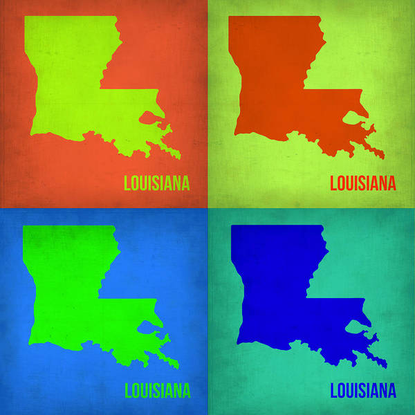 Louisiana Wall Art - Painting - Louisiana Pop Art Map 1 by Naxart Studio