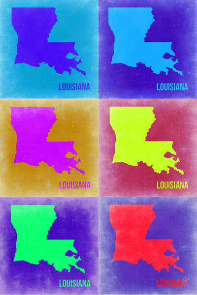Louisiana Wall Art - Painting - Louisiana Pop Art Map 2 by Naxart Studio