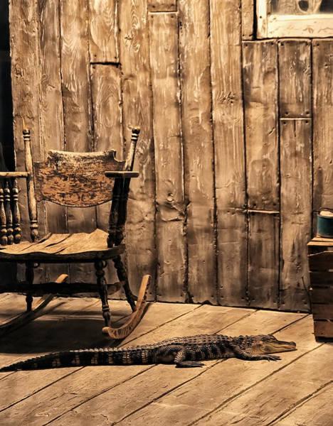 Digital Art - Louisiana Porch Alligator by Chris Flees