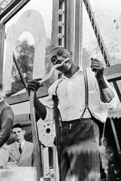 Carnies Photograph - Louisiana Sideshow, 1938 by Granger