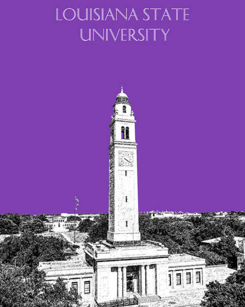 Baton Rouge Digital Art - Louisiana State University - Memorial Tower - Purple by DB Artist