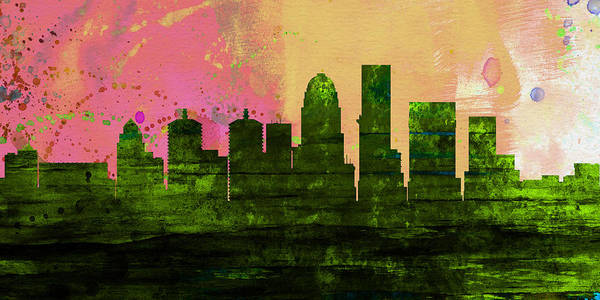 Wall Art - Painting - Louisville City Skyline by Naxart Studio