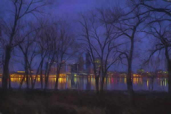 Photograph - Louisville Kentucky Night Skyline Digital Paint by David Haskett II