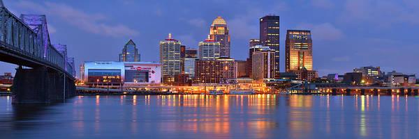 Downtown Photograph - Louisville Skyline At Dusk Sunset Panorama Kentucky by Jon Holiday
