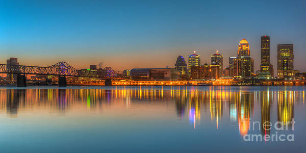 Photograph - Louisville Skyline Morning Twilight Panoramic I by Clarence Holmes