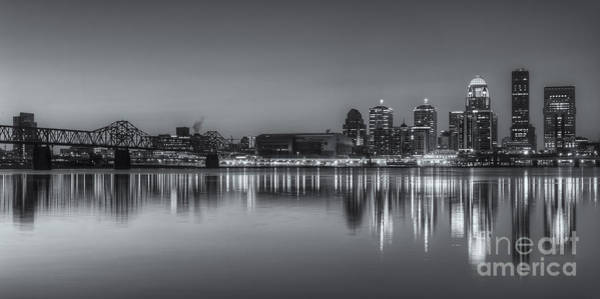 Photograph - Louisville Skyline Morning Twilight Panoramic II by Clarence Holmes