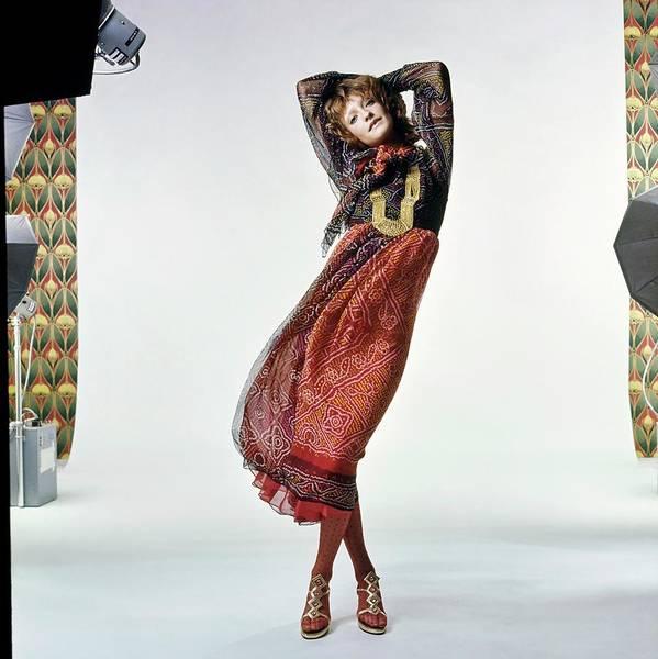 Wall Art - Photograph - Loulou De La Falaise Wearing Silk by Bert Stern