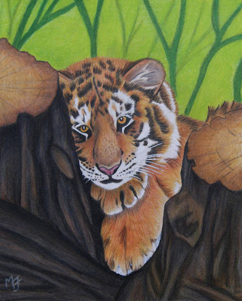 Painting - Lounging Tiger Cub by Melanie Feltham