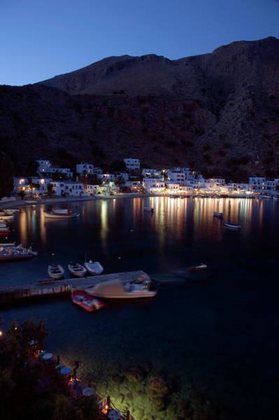 Taverna Photograph - Loutro Harbor And Restaurants At Nght by Steve Outram