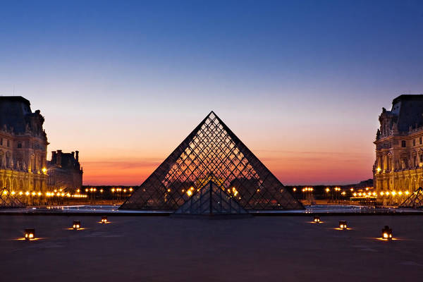 Photograph - Louvre Pyramid At Dusk / Paris by Barry O Carroll