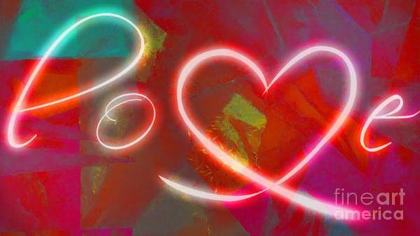 Painting - Love Abstract Neon by Catherine Lott