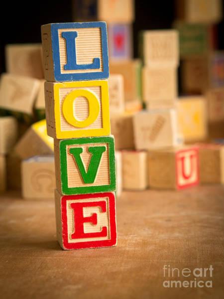 Valentines Photograph - Love - Alphabet Blocks by Edward Fielding