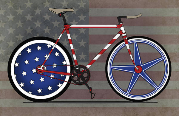 Bike Wall Art - Digital Art - Love America Bike by Andy Scullion